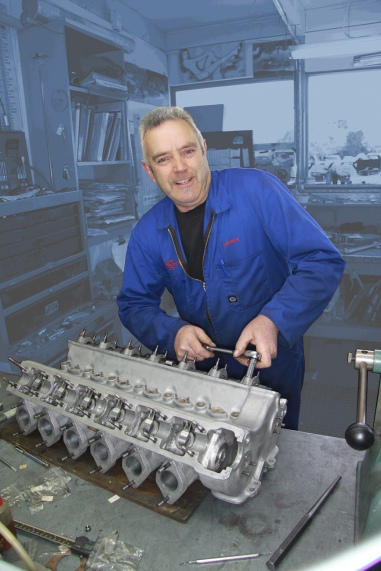 Maurice Gaskell on the tools rebuilding a classic camshaft in the Mechanical Shop at Auto Restorations.