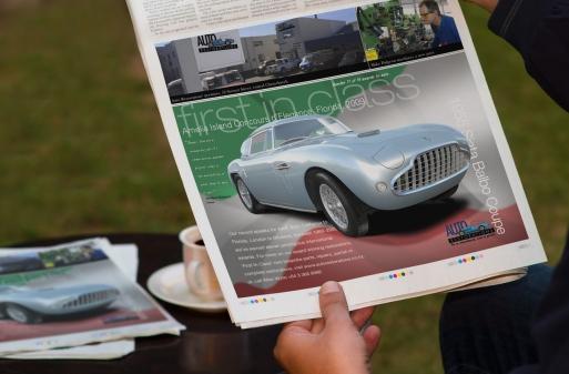 Auto Restorations Siata Balbo, First in Class Classic car magazine advertisement hand held