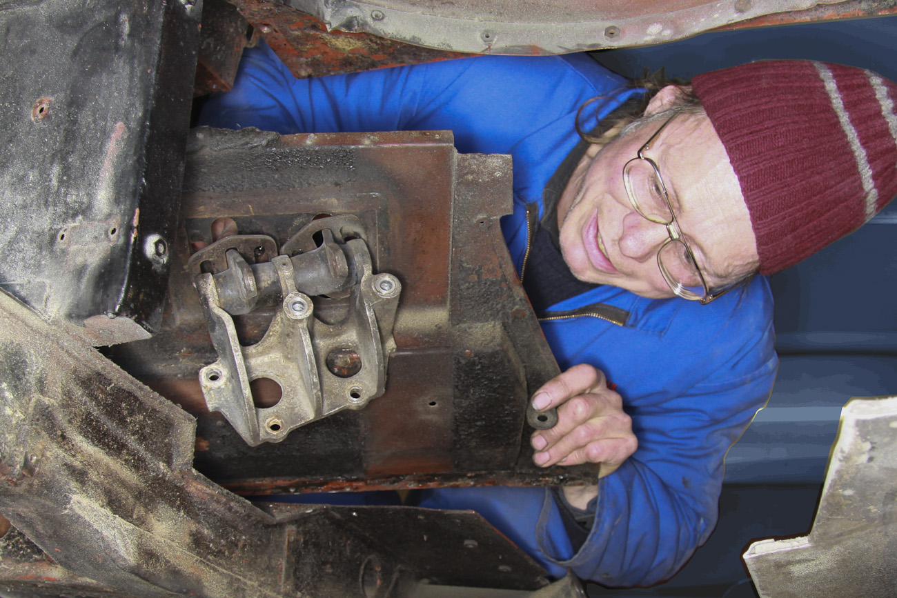 Paul Joslen, engaged in a detail of replacing the complete floor pan of a classic restoration, Panel Shop, Auto Restorations