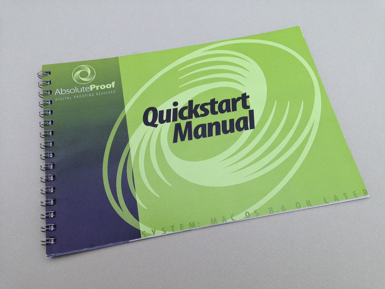 AbsoluteProof Quickstart Manual, colour, A5 landscape, front cover.