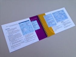AbsoluteProof Quickstart Manual, colour, A5 landscape, inside spread.