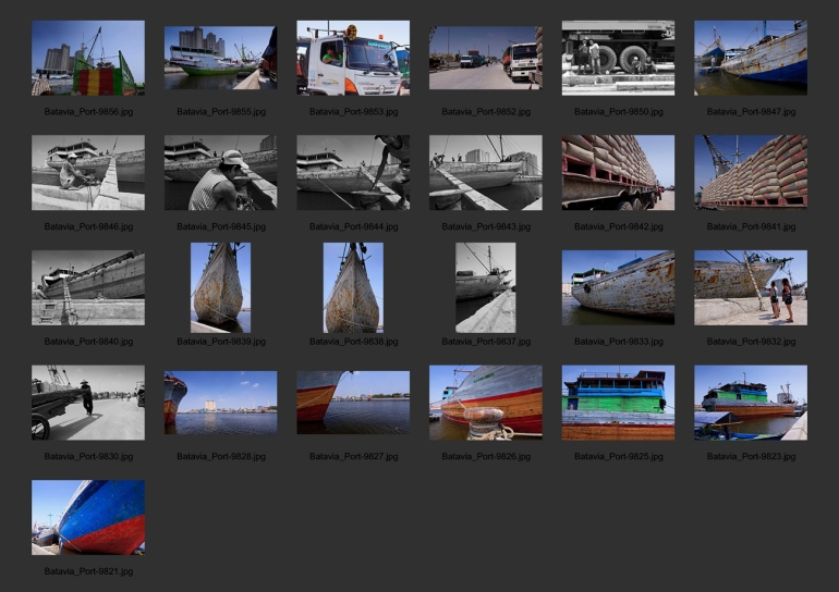 Contact sheet of the first set of 25 images shot on the tour of the port of Sunda Kelapa, Jakarta, Indonesia