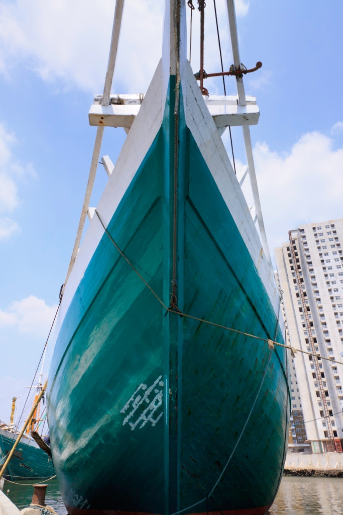 The prow of a magnificent Pinisi traditional Indonesian boat. Port of Sunda Kelapa, old harbour, Jakarta.