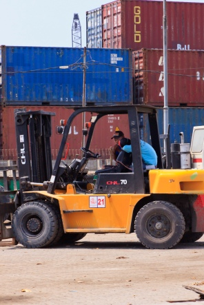Forklift being operated on the wharf of the Sunda Kelapa old port.