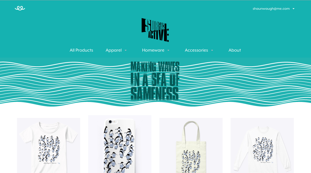 Screenshot of the header of the Surface Active Teespring store. A selection of four Adelie penguins, Antarctica products are featured below.