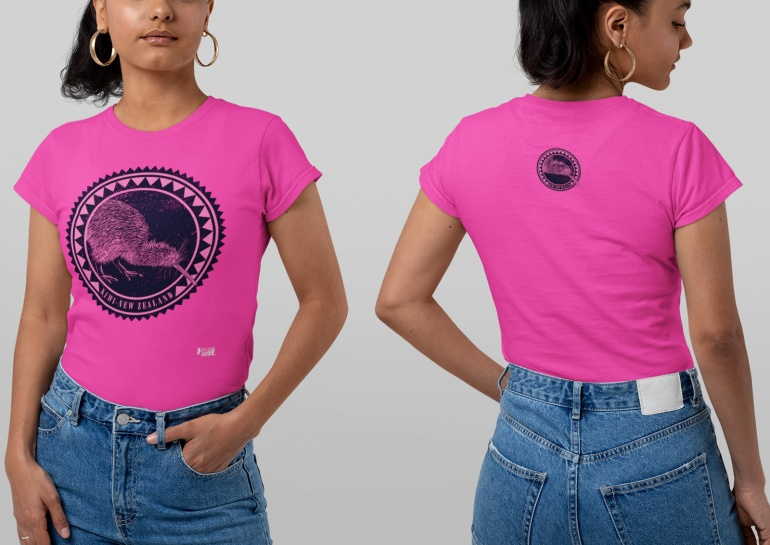 A both-sides view of a woman wearing a double-sided hot pink kiwi New Zealand t-shirt in a studio.