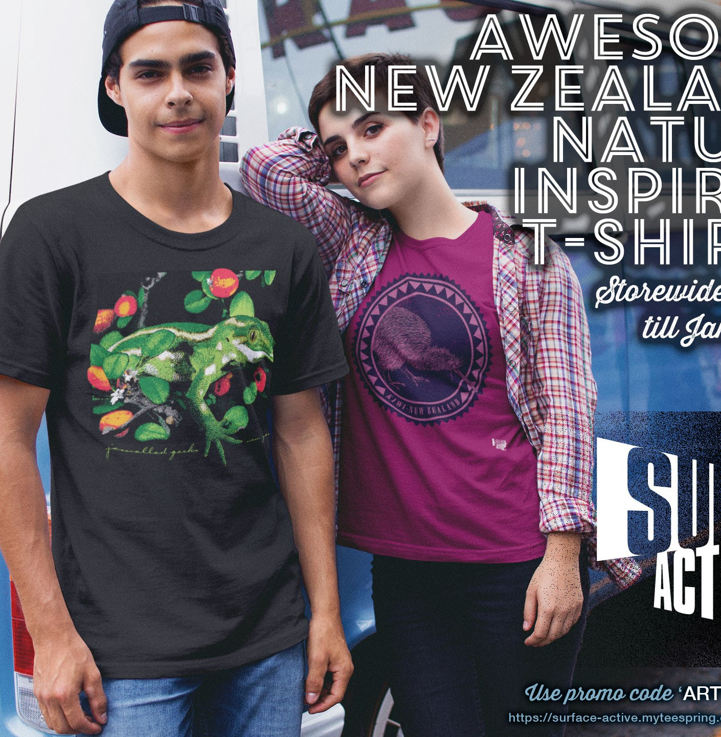 Awesome New Zealand Nature Inspired T-shirts. Storewide 15% off till Jan 5, 2021. Promotional Facebook Ad for Surface Active New Zealand Artwear T-shirts. . Young couple wearing a jewelled gecko New Zealand and a kiwi New Zealand t-shirt leaning against a blue VW Kombi van.