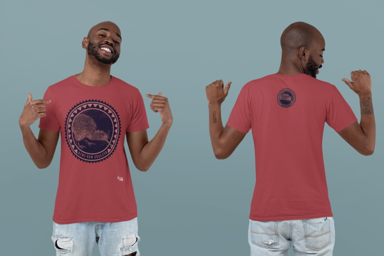 Front and back view of a young man wearing a deep red kiwi New Zealand double-sided t-shirt in the studio.