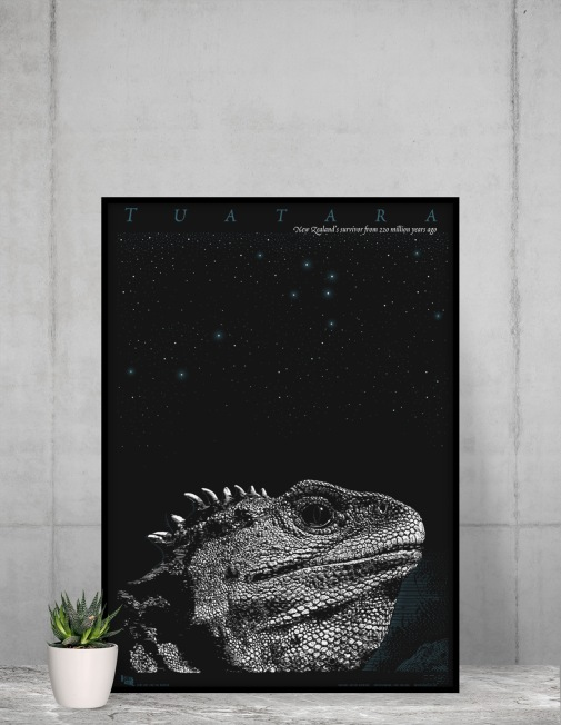 Surface Active tuatara framed poster against a concrete wall.