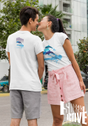 A couple wear dolphin t-shirt design seen from both sides.