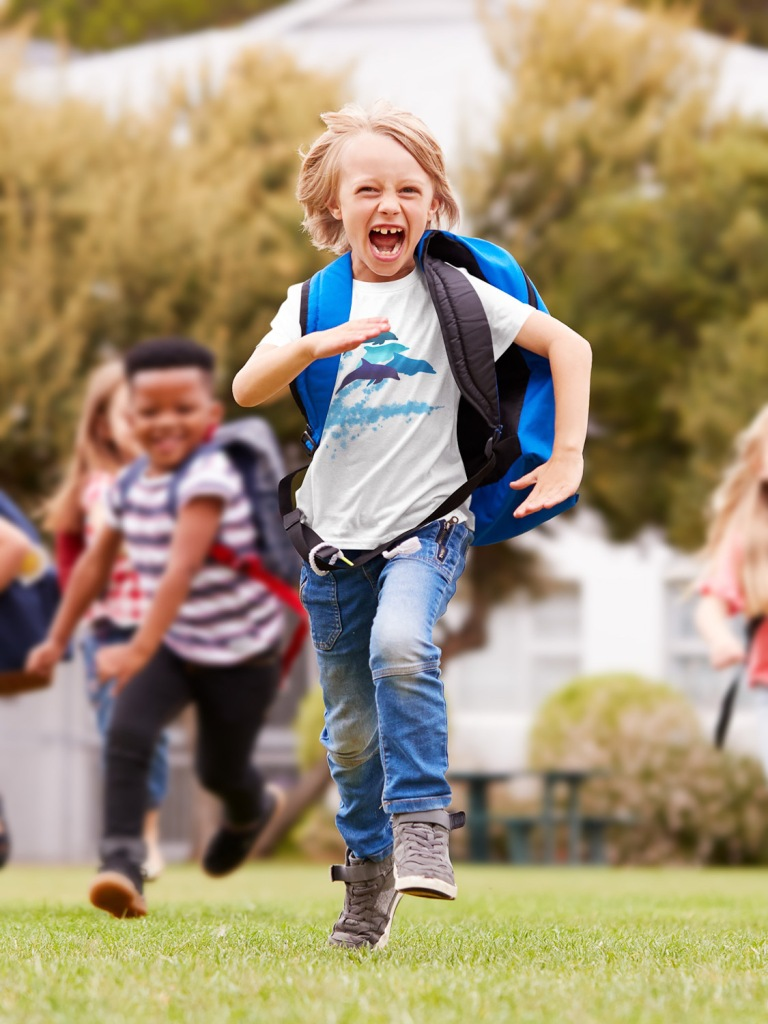 A dolphins leaping New Zealand t-shirt on a cheerful boy running.