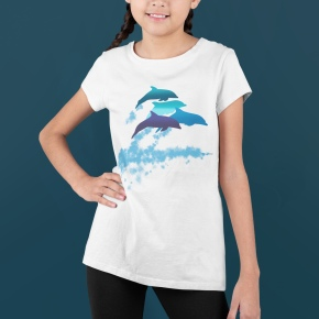 A smiling girl with two braids in a dolphins leaping New Zealand t-shirt.