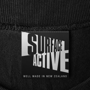 Surface Active well made in New Zealand t-shirt neck label.